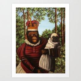 Monkey Queen with Pug Baby Art Print