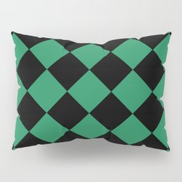 Emerald Green Checkered Pattern Pillow Sham