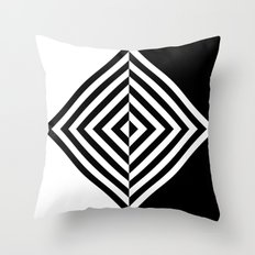 Black and White Concentric Diamonds Throw Pillow