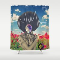 afro Shower Curtains featuring Afro Heartbeat by Collage Calamity