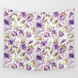 violet garden floral pattern Wall Tapestry