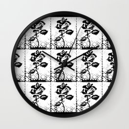 Rose Stamp (White + Black) Wall Clock