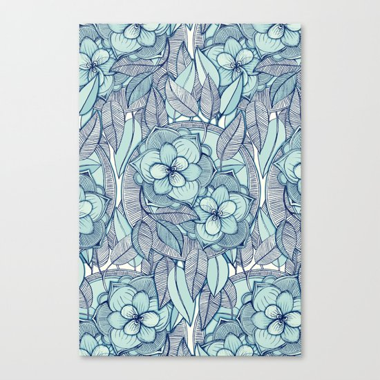 Teal Magnolias - a hand drawn pattern Canvas Print