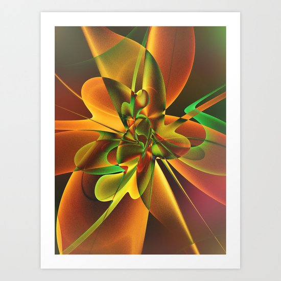 Abstract Flower - gold and green Art Print
