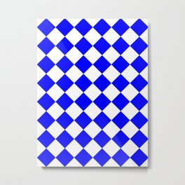 Large Diamonds - White and Blue Metal Print