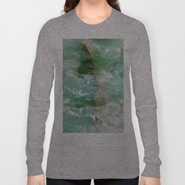Crystalized Pale Green Quartz Slab with Copper Vein Long Sleeve T-shirt