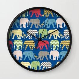 baby elephants and flamingos lapis Wall Clock