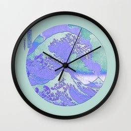 Great Wave Mount Fuji Eruption Purple and Teal Wall Clock