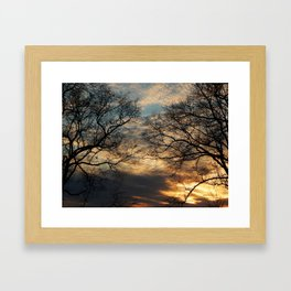 Sunset, Clouds, and Tree Silhouettes Framed Art Print