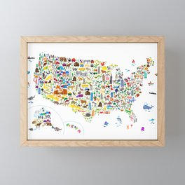 Animal Map of United States for children and kids Framed Mini Art Print