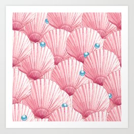 Seashells Pearl Treasure | Rockin' Pink + Aqua Blue Art Print