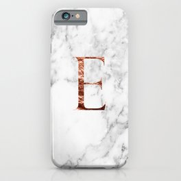 Monogram rose gold marble E iPhone Case
