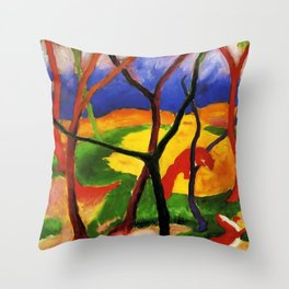 "Franz Marc ""Weasels At Play"" Throw Pillow"