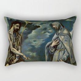 "El Greco (Domenikos Theotokopoulos) ""Saint John the Baptist and Saint Francis of Assisi"" Rectangular Pillow"