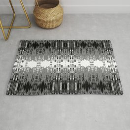 Laced rows of abstract city skyline Rug
