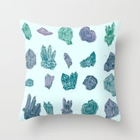 minerals Throw Pillows featuring Mystical Minerals by Hannah Margaret Illustrations