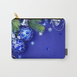 Blue christmas balls New Year silver bells blue background Carry-All Pouch
