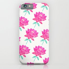 Sacred Lotus Blossom – Pink & Mint iPhone Case