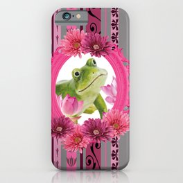 Frog in pink Frame stripes background iPhone Case