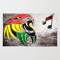 reggae Area & Throw Rugs featuring Grunge Reggae Music Colors Lion by Denis Marsili DDTK