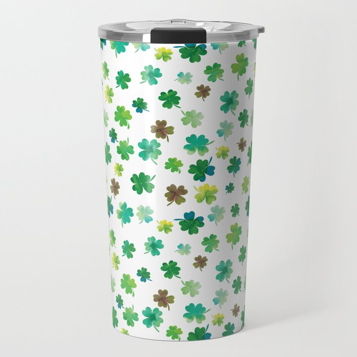 Lucky Watercolor Clovers Travel Mug