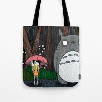 tim burton Tote Bags featuring Tim Burton Totoro by Grace Isabel