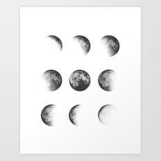 MOON PHASES • white Art Print