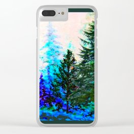 SCENIC BLUE MOUNTAIN GREEN PINE FOREST Clear iPhone Case