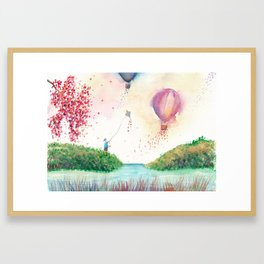 A Happy Day Watercolor Illustration Framed Art Print