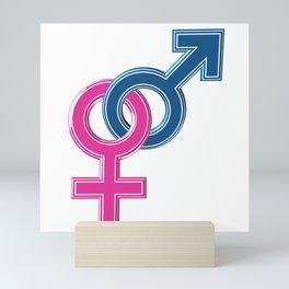 Female male coupled symbols Mini Art Print