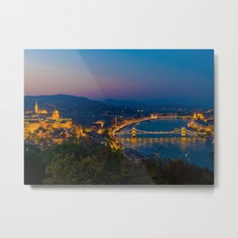 Aerial view of Budapest, Hungary, evening. Buda castle, Chain bridge and Parliament building. Metal Print