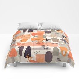 Mid Century Shapes Pattern Orange Comforters