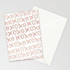 Elegant faux rose gold blush pink love xoxo typography pattern Stationery Cards