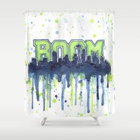 seahawks Shower Curtains featuring Seattle 12th Man Seahawks Painting Legion of Boom Art by Olechka