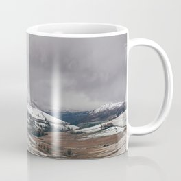 Keskadale from Newlands Hause, with surrounding mountains covered in snow. Cumbria, UK Coffee Mug