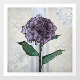 Hydrangea Damask and Quartrefoil Mixed Media Art Print