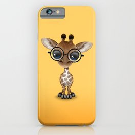 Cute Curious Baby Giraffe Wearing Glasses iPhone Case