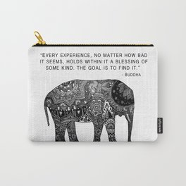 Buddha Quote with Henna Elephant Carry-All Pouch