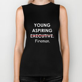 Young Aspiring Fireman Graphic Funny T-shirt Biker Tank