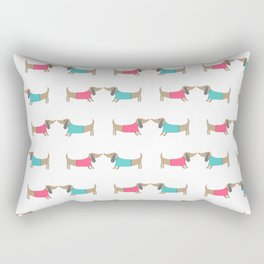 Cute dog lovers in white backgound Rectangular Pillow