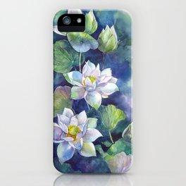 Watercolor lotos flowers art iPhone Case