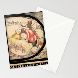 retro Schlittenfahrt Stationery Cards