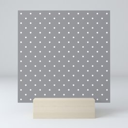 Small White Polka Dots with Grey Background Mini Art Print