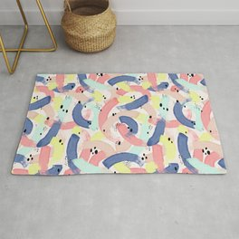 Colourful Brushstroke & Spot Artistic Pattern Rug