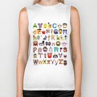 sesame street Biker Tanks featuring Sesame Street Alphabet by Mike Boon