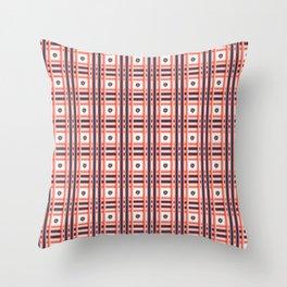 Hand drawn coral blue tartan floral check stripes Throw Pillow