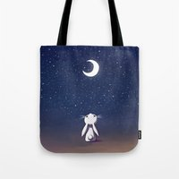 bunny Tote Bags featuring Moon Bunny by Freeminds
