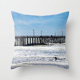 A Panoramic View Of Pismo Beach Pier, Surfers And Ocean Throw Pillow