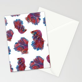 Ocean Theme- Red Blue Betta Fish Stationery Cards