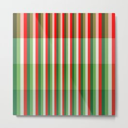 Green, Star White and Red Stipe Overlay Pattern Metal Print